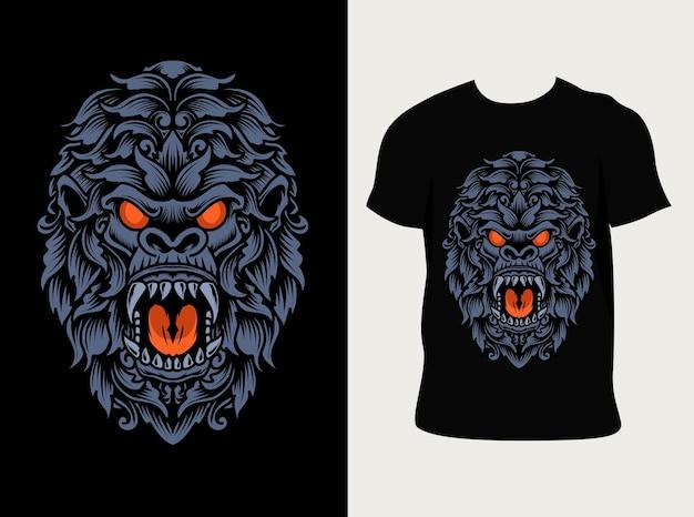 Illustratie gorilla hoofd ornament stijl met t-shirt design