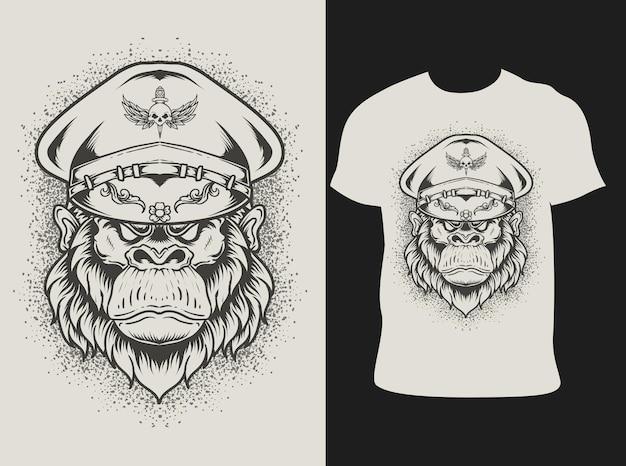 Illustratie gorilla leger hoofd met t-shirt design