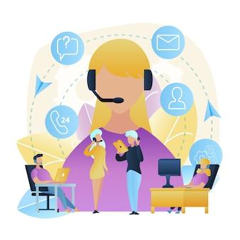 Illustratie groepsmensen call center werkplaats