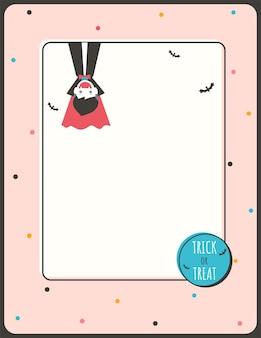 Illustratie halloween uitnodigingskaart ontwerp met vampier jongen op pastel achtergrond.