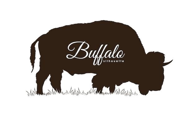 Illustratie: hand getekend buffalo silhouet geïsoleerd op een witte achtergrond