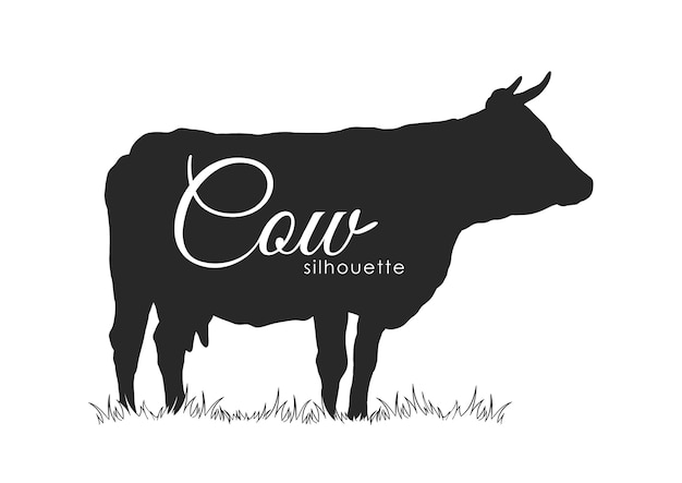 Illustratie: hand getekend koe silhouet geïsoleerd op een witte achtergrond