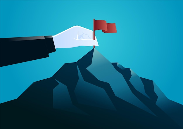 Illustratie hand plug in een vlag op de top van de berg. beschrijf de doelgroep.