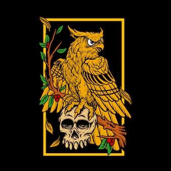 Illustratie hand tekenen adelaar schedel hoofd