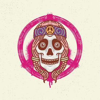 Illustratie hand tekenen met ruwe lijntekeningen, concept skelet hoofd met lang haar en vrede bandana op het hoofd