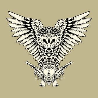 Illustratie hand tekenen vlieg uil pistool lantaarn