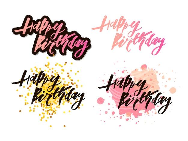 Illustratie: handgeschreven moderne penseel belettering van happy birthday op witte achtergrond. typografie. groeten kaart.