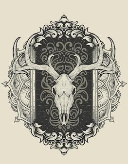 Illustratie herten schedel hoofd met antiek ornament