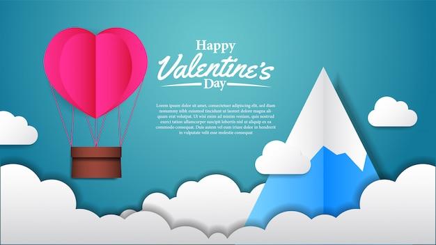 Illustratie hou van valentijnsdag papier vaartuig