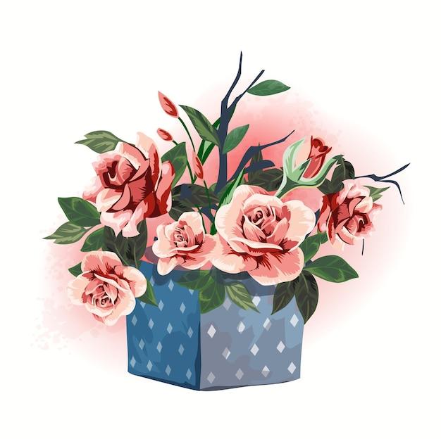 Illustratie huishoudelijke artikelen geschenkdoos versierd met bloemen.
