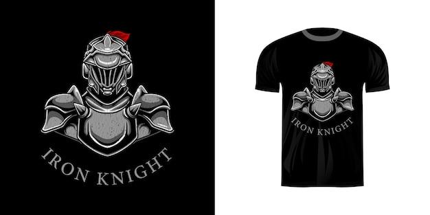 Illustratie ijzeren ridder voor t-shirtontwerp