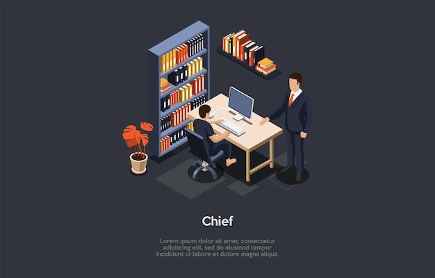 Illustratie in cartoon 3d-stijl. office interieur items en twee karakters