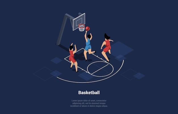 Illustratie in cartoon 3d-stijl van basketbalspelers team on court