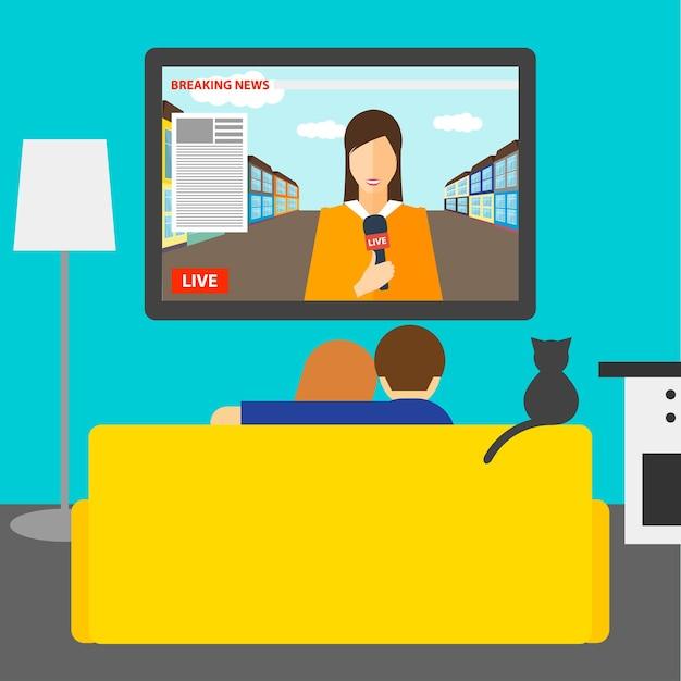 Illustratie in een vlakke stijl met paar en kat kijken naar het nieuws op televisie zittend op de bank in de kamer