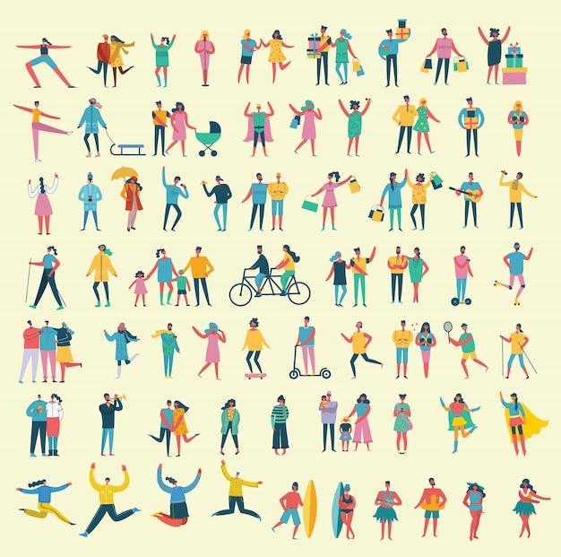 Illustratie in een vlakke stijl van verschillende activiteitenmensen