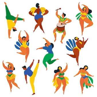 Illustratie in retro vlakke stijl meisjes van carnaval, vrouwen en mannen jongeren