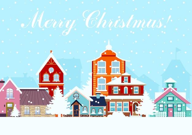 Illustratie in vlakke stijl. sneeuwnacht in het gezellige panorama van de stadsstad met kleurrijke huizen in sneeuw. stadsgezicht in de tijd van kerstmis.