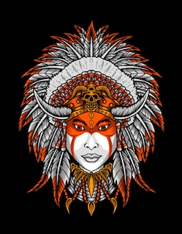 Illustratie indiase apache vrouw hoofd