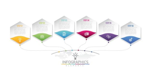 Illustratie infographic ontwerpsjabloon zakelijke informatie presentatie grafiek met 6 stappen