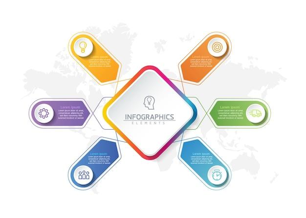 Illustratie infographics ontwerpsjabloon, bedrijfsinformatie, presentatiegrafiek