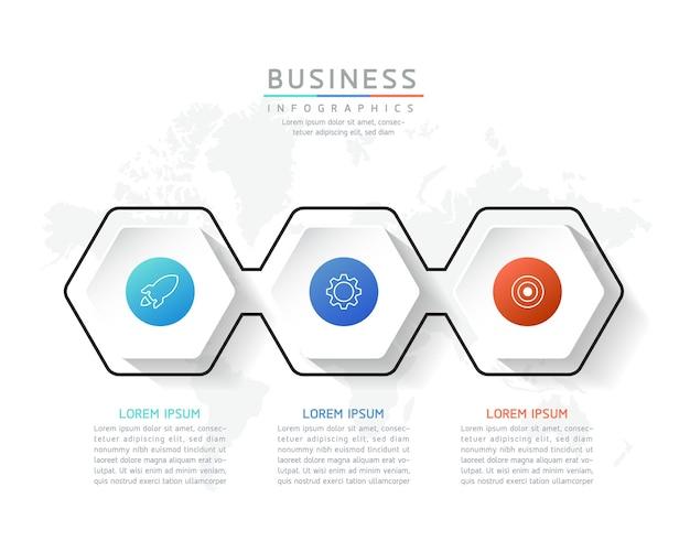 Illustratie infographics ontwerpsjabloon marketinginformatie met 3 opties of stappen