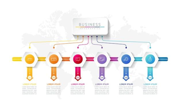 Illustratie infographics ontwerpsjabloon marketinginformatie met 6 opties of stappen