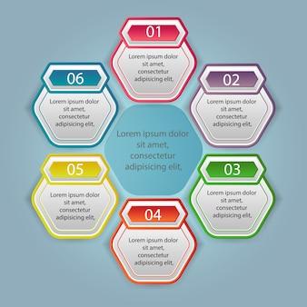 Illustratie infographics zes opties
