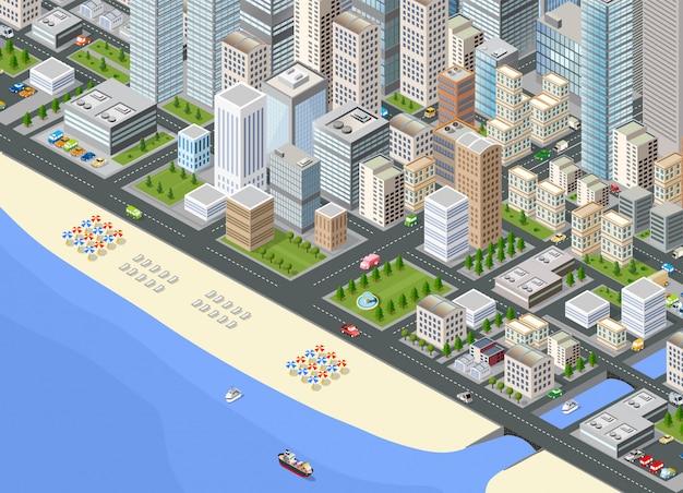 Illustratie isometrische grote stad