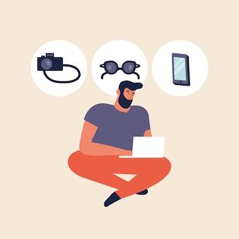 Illustratie jonge man online winkelen door laptop, browsen apparaten.
