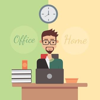 Illustratie kantoorwerk of thuiswerk