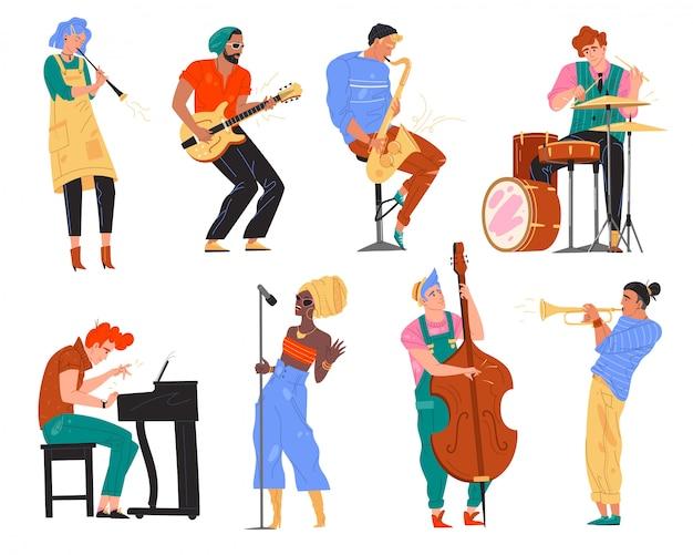 Illustratie karakter jazzband spelen