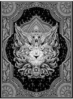 Illustratie kat hoofd mandala stijl met ornament