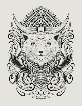Illustratie kat hoofd met vintage gravure ornament