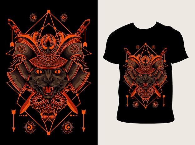 Illustratie kat samurai hoofd met t-shirt design