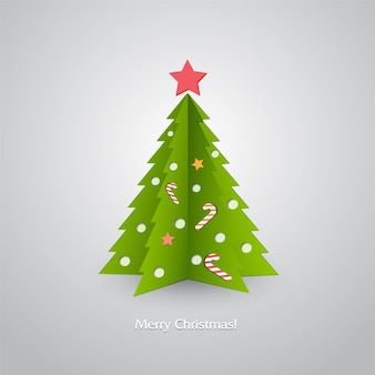 Illustratie kerstboom op rode achtergrond.