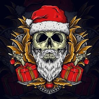 Illustratie kerstman schedel gravure ornament