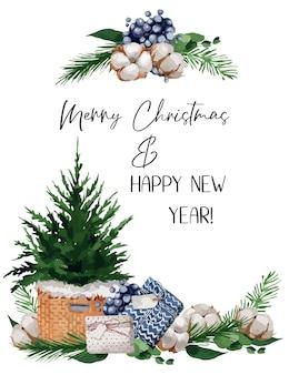 Illustratie, kerstmisillustratie met dennentakken, bessen en katoen