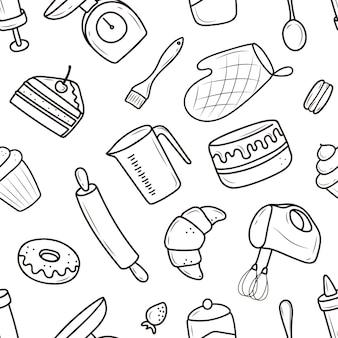 Illustratie keukenartikelen voor desserts en gebak