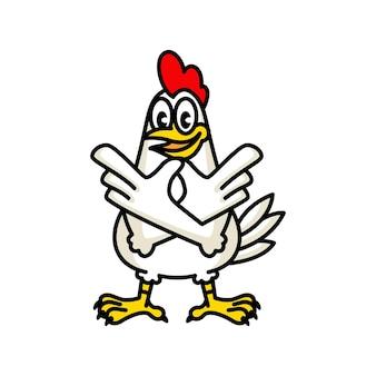 Illustratie, kippenmascotte voor een fastfoodrestaurant met gebraden kip.