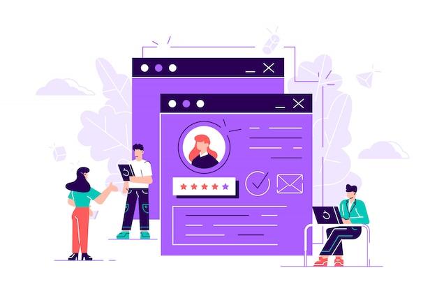 Illustratie, kleine mensen vullen het formulier in, modern concept voor webbanners, infographics, websites, gedrukte producten, cv's invullen, werknemers inhuren. vlakke stijl modern design