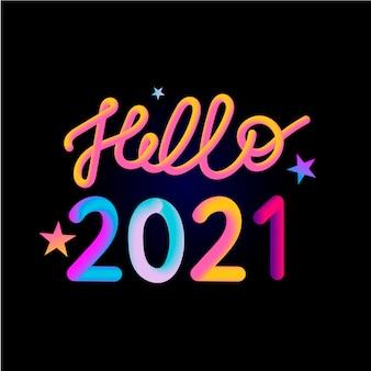 Illustratie: kleurrijke 3d-nummer van 2021 op witte achtergrond. gelukkig nieuwjaar.