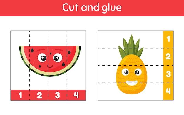 Illustratie. knip en lijm. getallen leren. werkblad voor kinderen, kleuterschool, voorschoolse en leerplichtige leeftijd. ananas en watermeloen.