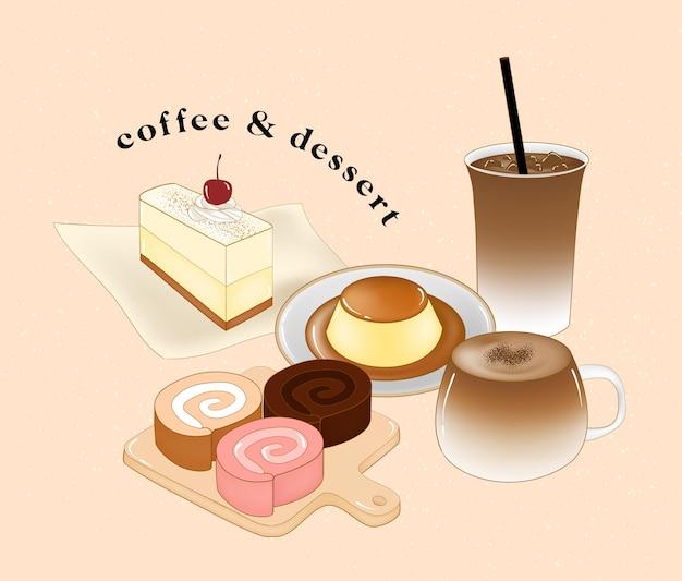 Illustratie koffie en dessert