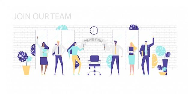 Illustratie. kom bij ons team. mannen en vrouwen van verschillende nationaliteiten op kantoor verwelkomen de nieuwe medewerker. houd een poster met de inscriptie