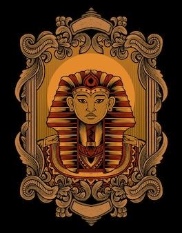 Illustratie koning egypte op vintage ornament frame