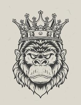 Illustratie koning gorilla hoofd zwart-wit