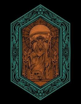 Illustratie koning satan met gravure ornamentstijl