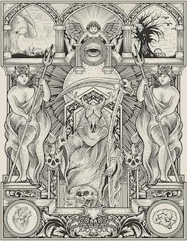 Illustratie koning satan op gotische gravure ornament stijl