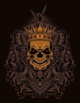 Illustratie koning schedel met vintage gravure ornament
