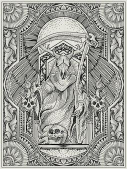 Illustratie koning van satan met gravurestijl